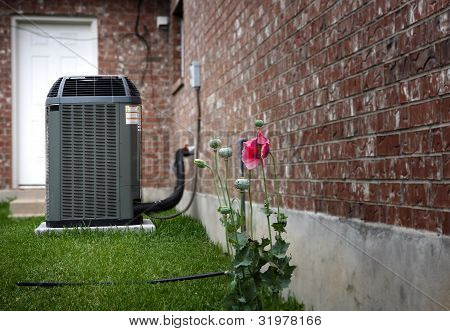 Air conditioner on backyard