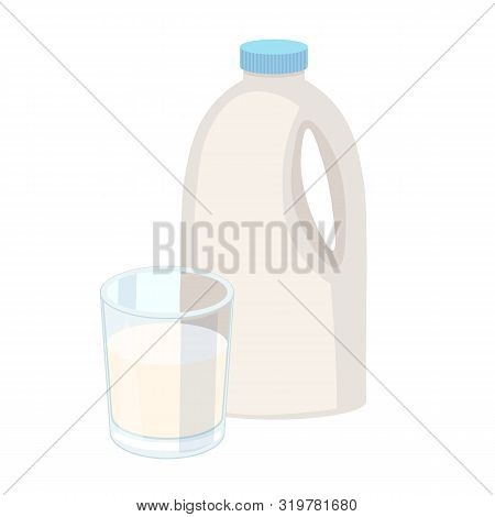 Glass Of Milk With Gable Top Package Close Up. Cow Milk Carton And Milk Cup Isolated On White Backgr