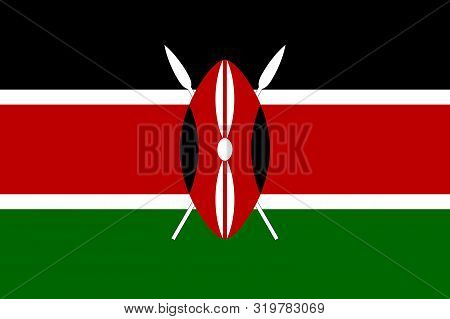 Flag Of Kenya Vector Illustration, Worlds Flags Collection