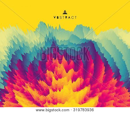 3d Wavy Background With Ripple Effect. Abstract Vector Illustration. Design Template. Modern Pattern
