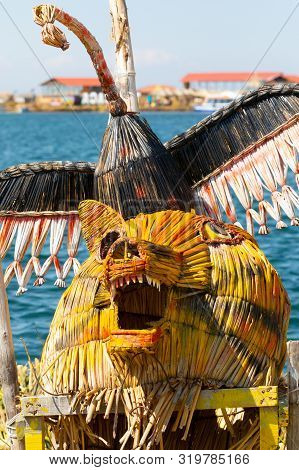 Titicaca Lake Peru, August 16.one Of The Typical Amulets Made Of Totora That Protect The Islands And