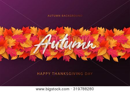 Autumn Background, Banner, Poster Or Flyer Design. Thanksgiving Day Vector Illustration With Bright