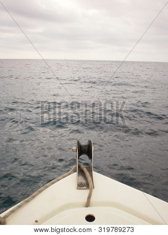 Prow Of A Small Boat In Citadel On The Island Of Menorca. July 5, 2012. Menorca, Balearic Islands, S