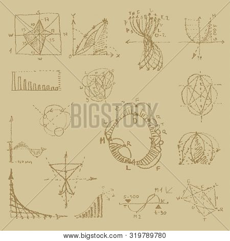 Doodle Writing Of Vintage Physical Equations And Formulas, Chalk Drawing. Education And Scientific S
