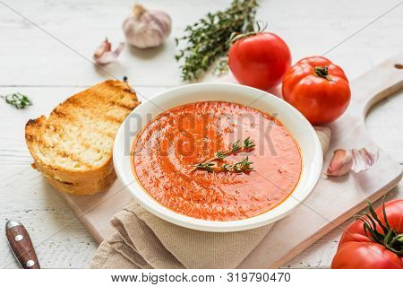 Tomato Soup With Grilled Cheese Sandwich, Copy Space. Homemade Tomato Soup With Thyme.