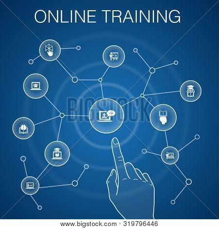 Online Training Concept, Blue Background.distance Learning, Learning Process, Elearning, Seminar Ico