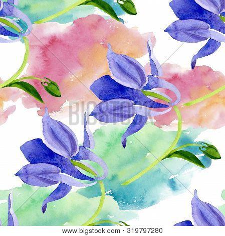Blue Yellow Brugmansia Floral Botanical Flowers. Watercolor Background Illustration Set. Seamless Ba