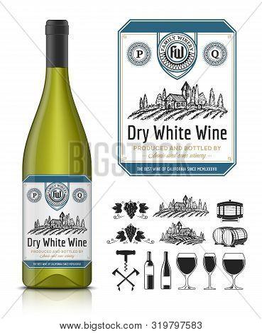 Vector Vintage White Wine Label And Wine Bottle Mockup