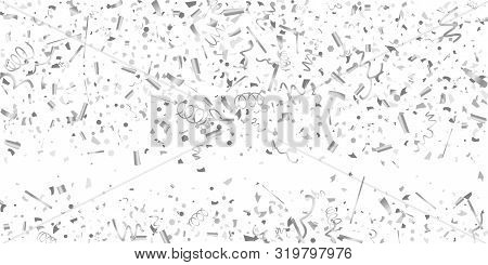 Silver Confetti. Silver Shine Texture On A White Background. Element Of Design. Silvery Abstract Tex