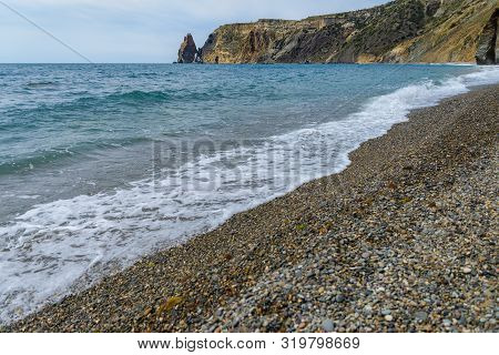 View Of The Pebble Beach, Sea, Waves, Rocks