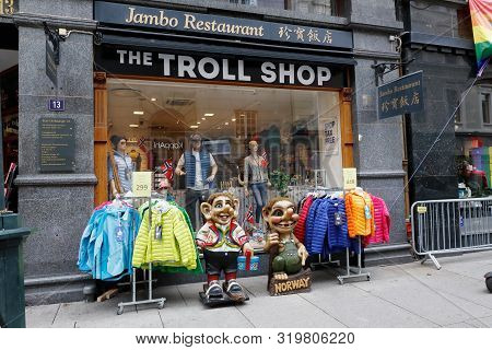 Oslo, Norway - June 20, 2019: The Troll Shop Located At The Karl Johan Gate Street.