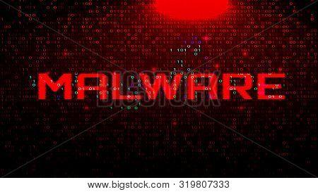 Malware Cyber Security Alert Concept. Dark Red Bg