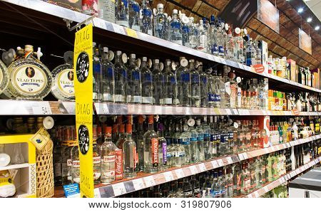 Craiova, Romania. August, 31, 2019- Shopping, In The Store. Shelves With Vodka Bottles. Different Vo