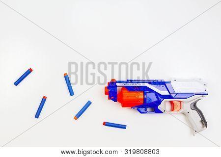 Vilnius, Lithuaania - March 5, 2019: Nerf N-strike Elite Disruptor Blaster And Refill Bullet Darts O