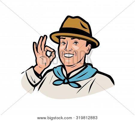 Farmer Logo. Funny Adult Man In A Hat. Vector Illustration
