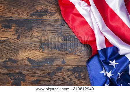 American Flag On Wooden Background. Usa Never Forget September 11, 2001 Concept. Usa Patriot Day, 4t
