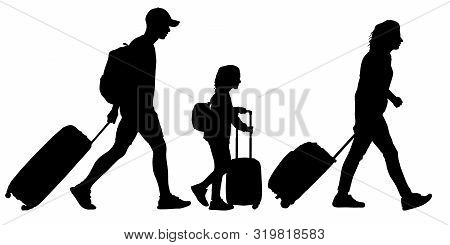 People With Suitcases Go On A Trip. Family With A Child Goes On Vacation. Vector Silhouette