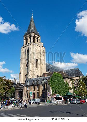 Paris, France - August 29 2019: Church Of Saint-germain-des-pres On Boulevard Saint Germain