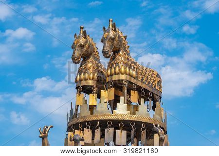 Kutaisi, Georgia - 21.08.2019: View Of Golden Horses On Colchis Fountain In The Centre Of Kutaisi.