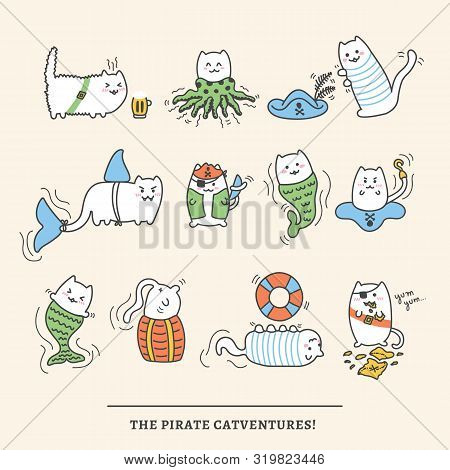 Kawaii Pirate Cats, Super Cute And Fluffy, Happy Cartoon Characters In Pastel Colors. Talk Like A Pi