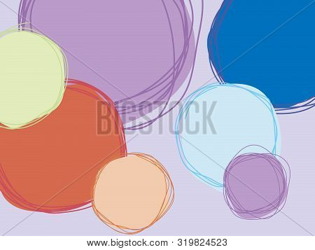 Background. Pencil And Crayon Like Kid Drawn Colorful Round Design Elements. Like Child Drawn Pastel