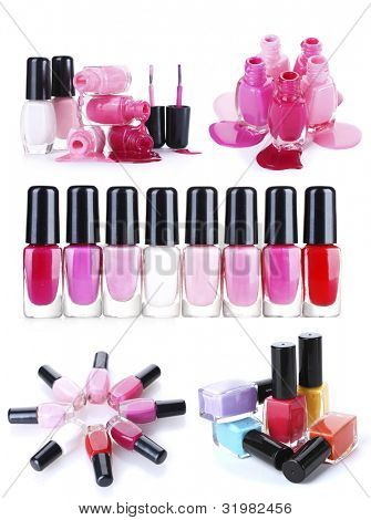 a collage of compositions of nail polish isolated on white