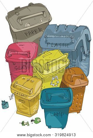 Set Of Buckets For Separated Garbage Collection. Cartoon. Caricature