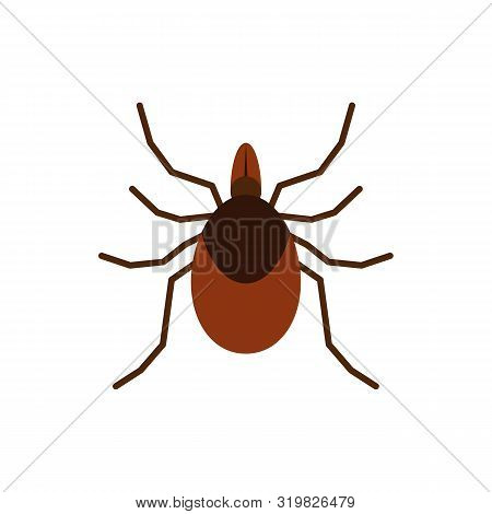 Mite Single Flat Icon. Tick Simple Sign In Cartoon Style. Insect Pictogram Wildlife Symbol. Entomolo