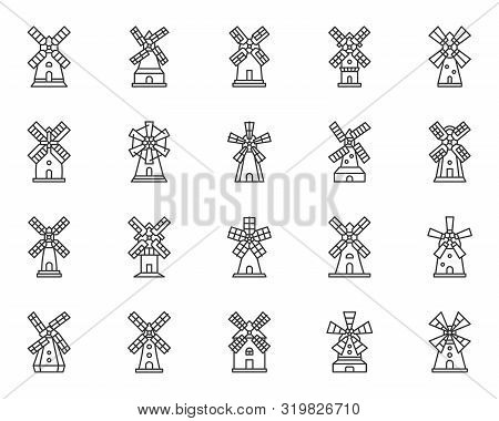 Vintage Windmill Thin Line Icon Set. Grain Flour Mill Collection Of Simple Outline Sign. Farm Wind H