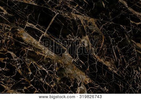 Gold And White Patterned Natural Of Dark Gray Marble Texture Background For Product Design. Black Ma