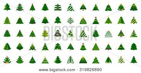 Christmas Tree Flat Icon Set. Stylized Spruce Winter Sign Kit. Fir Color Pictogram Decorated Garland