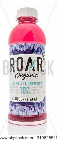 Winneconne, Wi - 14 August 2019 : A Bottle Of Roar Organic Electrolyte Beverage Water On An Isolated