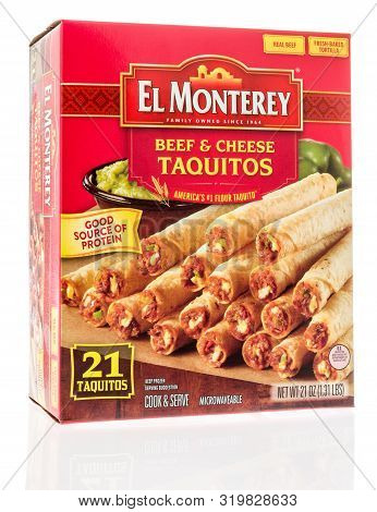 Winneconne, Wi - 26 August 2019 : A Package Of El Monterey Beef And Cheese Taquitos On An Isolated B