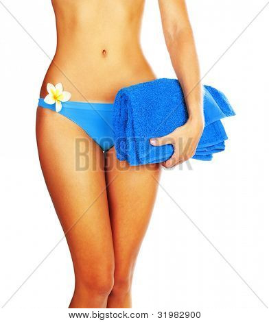 Perfect woman body in bikini with flower isolated on white background, best beach body, sexy girl figure, slim female model, concept image of summer holiday vacation, relaxing spa, healthy lifestyle