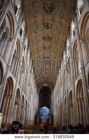 Ely, Cambridgeshire/england:  May 28, 2019:  The Nave Of The Cathedral Showing The Painted Ceiling A
