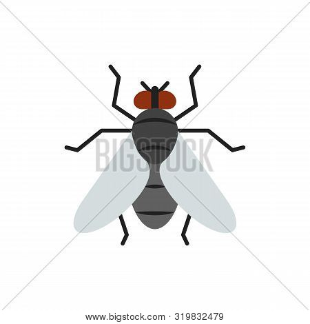 Fly Single Flat Icon. Insect Simple Sign In Cartoon Style. Housefly Pictogram. Wildlife Symbol. Ento