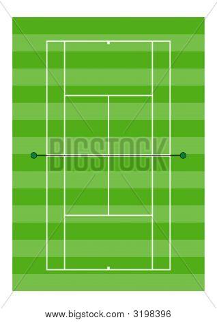 Tennis Court - Grass Surface - Overhead View