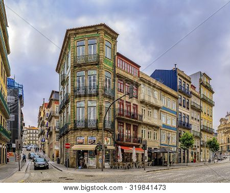 Porto, Portugal - May 29, 2018: Facades Of Traditional Houses Decorated With Ornate Portuguese Azule