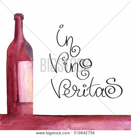 Bottle With An Extended Neck. Wine Burgundy Bottle With A White Label Is On The Table. Page Template