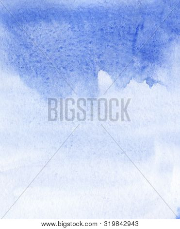 Abstract Blue Watercolor Background. Ultramarine Paint Spreads On Texture Paper With Granulation Eff