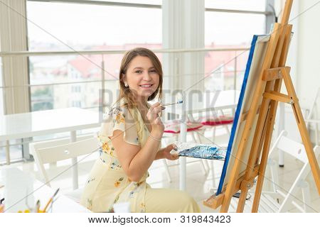 School Of Art, College Of Arts, Education For Group Of Young Students. Happy Young Woman Smiling, Gi