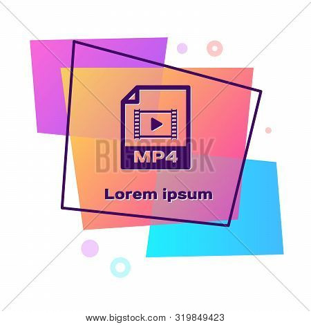 Purple Mp4 File Document. Download Mp4 Button Icon Isolated On White Background. Mp4 File Symbol. Co