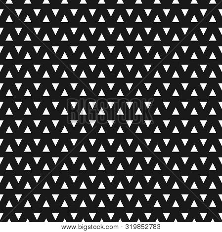 Abstract White Triangle Seamless Pattern On Black Background - Fabric, Background, Banner, Wallpaper