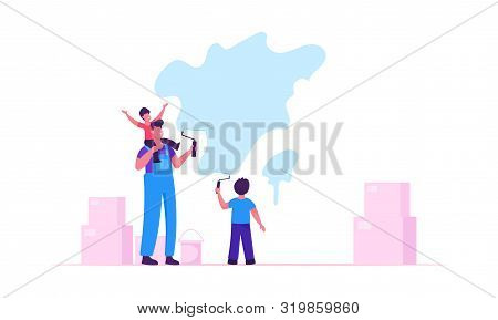 Young Family Make Repair At Home. Cheerful Father And Little Sons Coloring Wall With Paint Rollers O