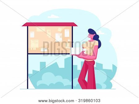 Young Woman Holding Heap of Paper Blanks Stand in front of Bulletin Board with Posted Advertising Flyers on City View Background. Side Job for Students, Marketing. Cartoon Flat Vector Illustration poster