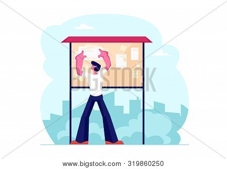 Young Man Billposter Sticking Paper Advertisement On Bulletin Board On City View Background. Male Ch