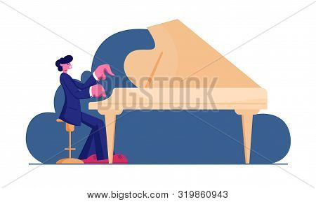 Pianist Wearing Concert Costume Playing Musical Composition On Grand Piano For Symphonic Orchestra O