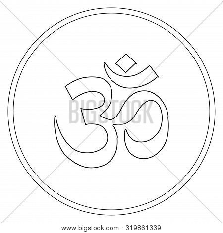 Buddhist Symbol Ohm Illustration On White Background. Om. Coloring Page.