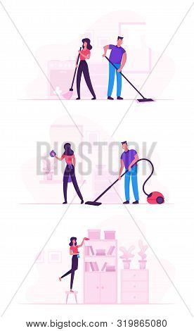 Couple In Household Housekeeping Activity. Everyday Routine Of Home Duties And Chores, Houseworking