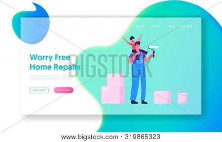 Renovation And Overhaul House Interior Website Landing Page. Father And Little Son Coloring Wall Wit